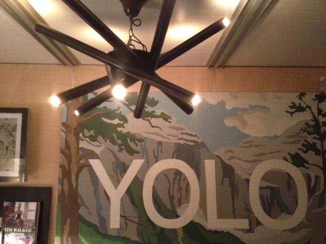 YOLO Detail, James Franco pop-up house at the Hollywood Forever Cemetery / Photo by Rachel Knight